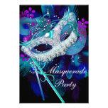 Masquerade Ball Party Teal Blue Black Masks Custom Invitations