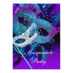 Masquerade Ball Party Teal Blue Purple Masks 11 Cm X 16 Cm Invitation Card
