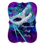 Masquerade Ball Party Teal Blue Purple Masks B 13 Cm X 18 Cm Invitation Card