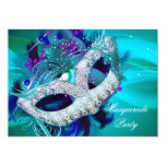 Masquerade Ball Party Teal Blue Purple Masks D 13 Cm X 18 Cm Invitation Card