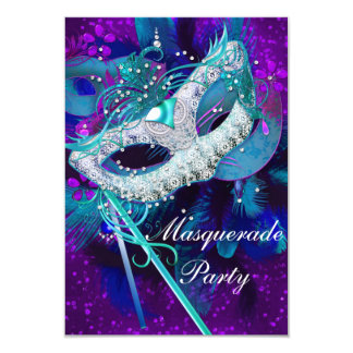 Masquerade Ball Party Teal Blue Purple Masks SML 9 Cm X 13 Cm Invitation Card