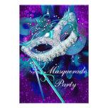 Masquerade Ball Party Teal Blue Purple Masks SML Custom Announcements