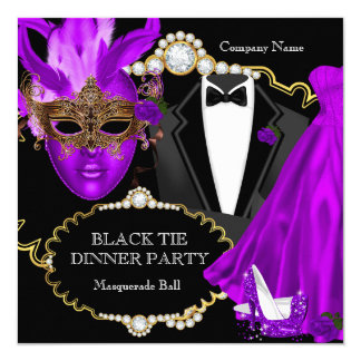 Masquerade Ball Purple Black Tie Dinner Party Card