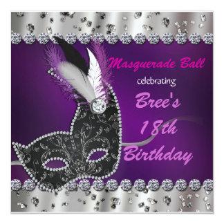"""Masquerade Ball Purple Silver Party Invitation 5.25"""" Square Invitation Card"""