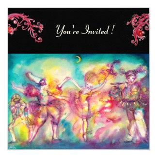 MASQUERADE BALL,red flourishes ,felt paper 13 Cm X 13 Cm Square Invitation Card