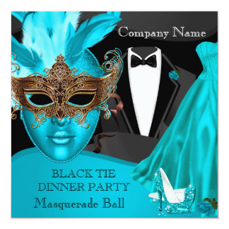 Masquerade Ball Teal Black Tie Corporate Formal 13 Cm X 13 Cm Square Invitation Card
