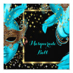 Masquerade Ball Teal Blue Masked Party 13 Cm X 13 Cm Square Invitation Card
