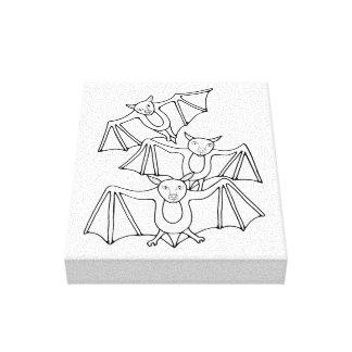 Masquerade Bats Line Art Design Canvas Print