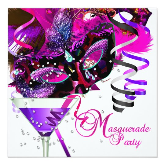 Masquerade Birthday Party Mask Pink Martini Card