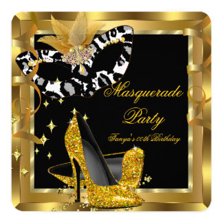 Masquerade Birthday Party Mask Wild Gold Heels Card