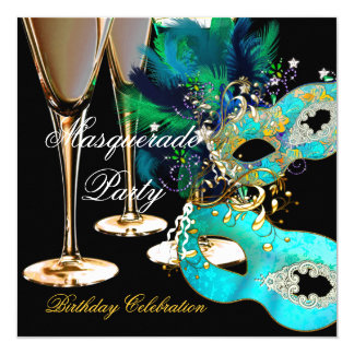 Masquerade Birthday Party Teal Blue Gold Masks 13 Cm X 13 Cm Square Invitation Card
