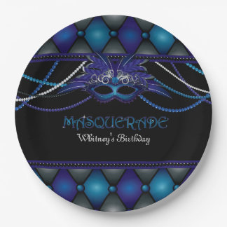 Masquerade, Blue & Black Party 9 Inch Paper Plate
