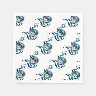 Masquerade blue teal girls party paper serviettes