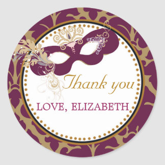 Masquerade Carnival Thank You Sticker Favor Label
