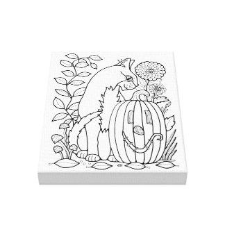 Masquerade Cat Pumpkin Line Art Design Canvas Print
