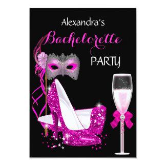 Masquerade Champagne Bachelorette Hot Pink l2 Card