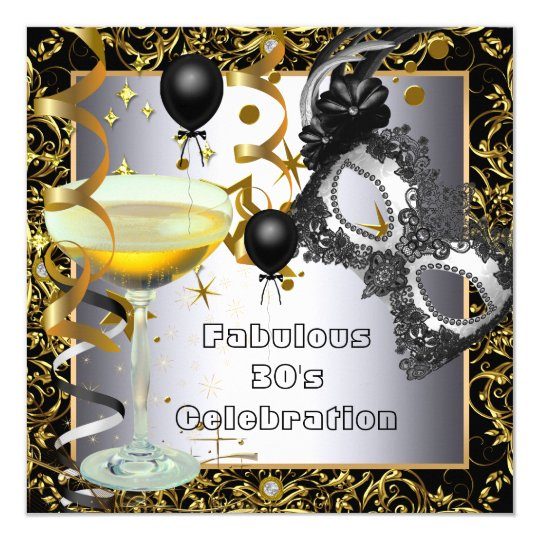 Masquerade Fabulous 30th Silver Gold Black Party Card