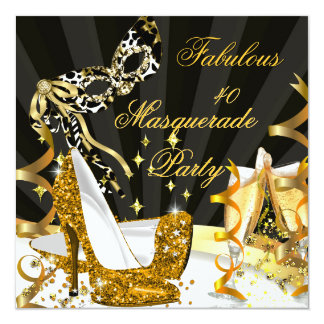 Masquerade Fabulous 40 Woman's Gold High Heel 13 Cm X 13 Cm Square Invitation Card