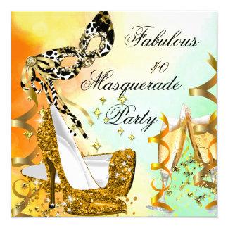 Masquerade Fabulous 40 Woman's Gold High Heels 3 13 Cm X 13 Cm Square Invitation Card