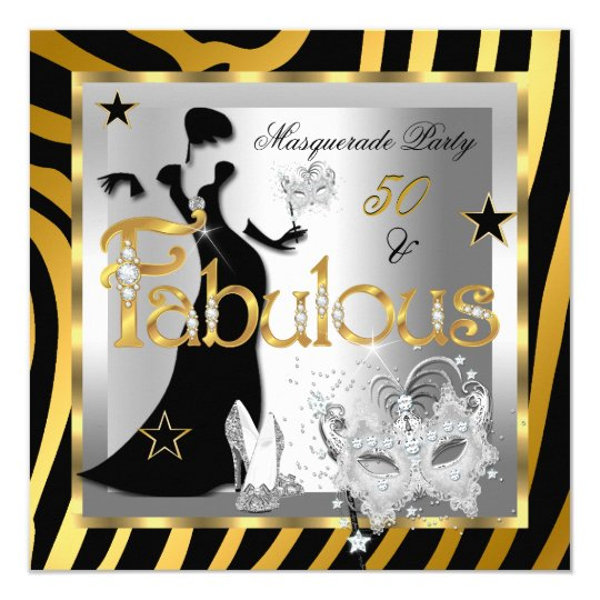 Masquerade Fabulous 50 Zebra Gold Silver Black Card