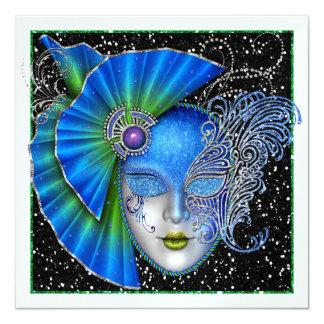 """Masquerade - Gala Event - SRF 5.25"""" Square Invitation Card"""