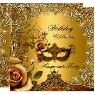 Masquerade Gold Mask Birthday Party Card