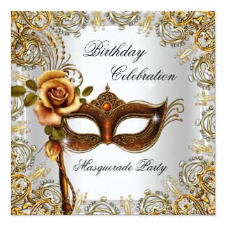 Masquerade Gold Mask Birthday Party 5.25x5.25 Square Paper Invitation Card