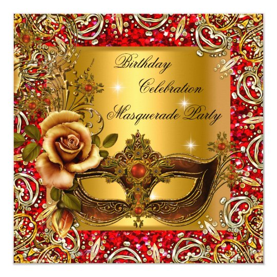 Masquerade Gold Mask Glitter Red Birthday Party Card