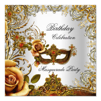 Masquerade Gold Mask Silver Birthday Party 5.25x5.25 Square Paper Invitation Card
