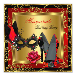 Masquerade Gold Red Black High Heels Mask Rose Invitations
