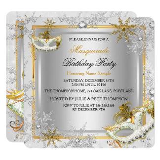 Masquerade Gold Silver Snowflakes Masks Party Card