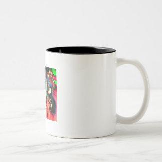 """""""Masquerade"""" in green Two-Tone Coffee Mug"""