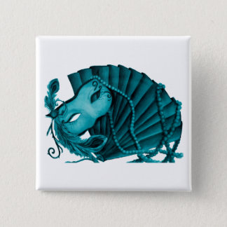 Masquerade in Teal Button
