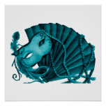 Masquerade in Teal Poster