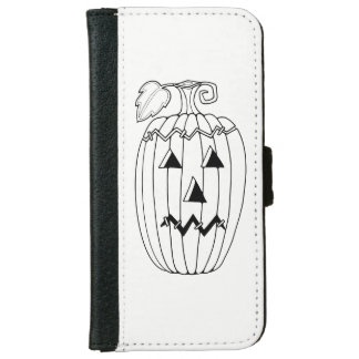 Masquerade Jack O Lantern Two Line Design iPhone 6 Wallet Case