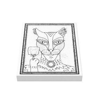 Masquerade Kitty Mouse Lollipop Line Art Design Canvas Print