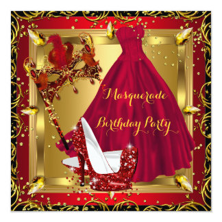Masquerade Mask High Heel Shoe Red Birthday 4 5.25x5.25 Square Paper Invitation Card