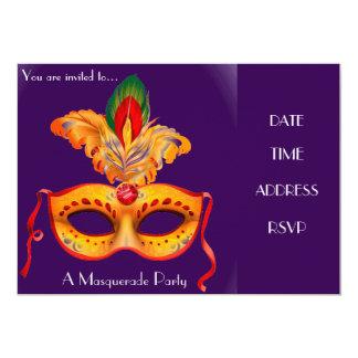Masquerade mask party 13 cm x 18 cm invitation card