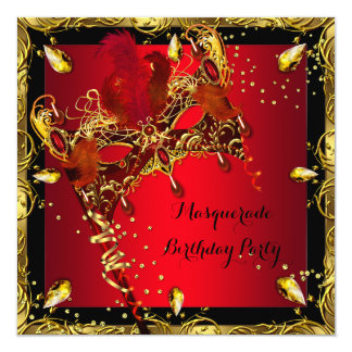 Masquerade Mask Red Gold Birthday Party 13 Cm X 13 Cm Square Invitation Card
