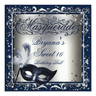 Masquerade Mask Silver & Royal Blue Birthday Party 13 Cm X 13 Cm Square Invitation Card