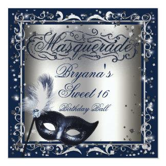 Masquerade Mask Silver & Royal Blue Birthday Party Card