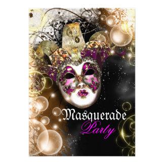 Masquerade mask venetian mardi gras party custom invite