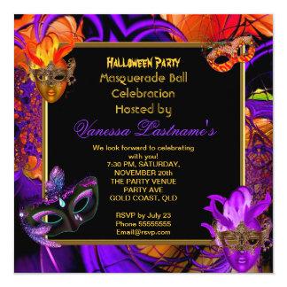 Masquerade Masked Purple Orange Halloween Party 13 Cm X 13 Cm Square Invitation Card