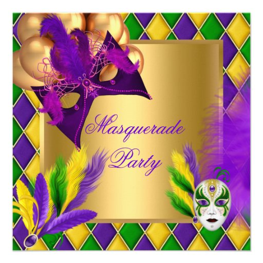 Masquerade Masks Gold Purple Green Party 2 Announcement