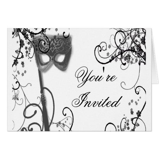 Masquerade Mystique black and white Card