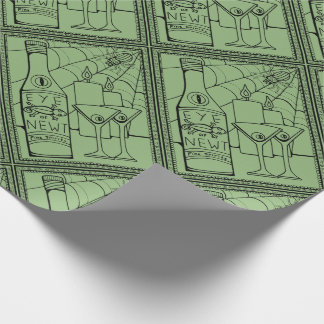 Masquerade Newt Martini Line Art Design Wrapping Paper