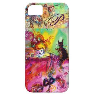 MASQUERADE NIGHT / LADY WITH BLACK CAT MONOGRAM iPhone 5 COVERS