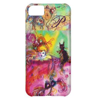 MASQUERADE NIGHT / LADY WITH BLACK CAT MONOGRAM iPhone 5C CASE