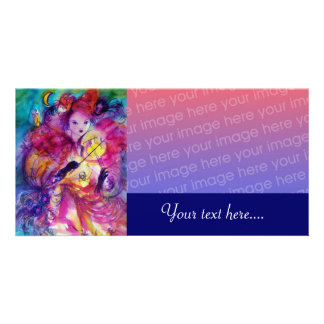 MASQUERADE NIGHT pink red blue Personalized Photo Card