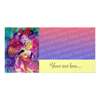 MASQUERADE NIGHT pink red blue yellow Photo Card Template